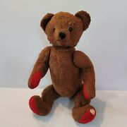 Antique Articulated Teddy Bear Cinnamon Brown Movable Arms Legs Flaws Glass Eyes