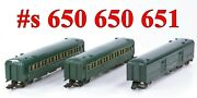 American Flyer Pw 651 650 650 New Haven Green 3-cars Link Couplers 1947-52
