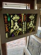 Sg3169 Antique Gothic Painted And Fired Stainglass Window 20 X 29.5