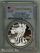 2013-w Silver Eagle Pcgs Ms70 Enhanced Mint State 1st Strike Flag Label - 1 Coin