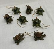 Vintage Lot Of 8 Hanging Pocelain Turtle Christmas Tree Decoration Made In China