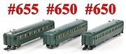 American Flyer Pw 655 650 650 New Haven Green 3-cars Link Couplers 1947-53
