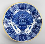 Large Antique 18th Century Dutch Delft Faience Peacock Charger 12 Plate