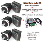 3axis 1kw 4nm Ac Servo Motor Nema34 Rs485 Drive + Offline Controller For Milling