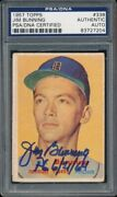 1 Jim Bunning 1957 Topps 338 Rc Rookie Psa/dna Hof Perfect Game Inscription