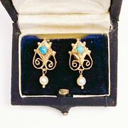 Antique • Estruscan Style 14k Gold W/ Persian Turquoise And Drop Pearl Earrings