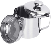 Bacon Grease Container Can W Strainer Large 1.2l/5 Cups Stainless Steel Kitchen