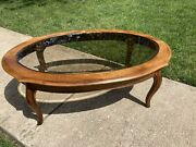 Ethan Allen French Country Glass Top Coffee Table