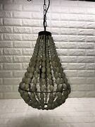 Antique Black Metal And Wood Beads Decoration Hexagon Dining Room Pendant Light