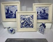 5 Pc Delft Blue 3 Hand Painted Tiles Shoe Ashtray Candle Holder Windmill Holland
