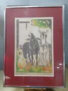 Down On The Farm Woodblock Print Multicolor Don Donald P. Gilmore Framed Signe