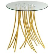 Paterson Wynd - 25.5 Inch Table Satin Gold Finish With Clear Glass - Furniture