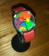 John Zaboyan Limited Edition Watch Red Leather Band Moving Face New Battery
