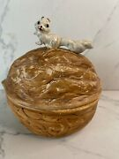 Vintage Squirrel Nut Covered Dish Bowl Candy Walnut Ceramic Brown Glaze Pottery