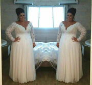 Plus Size Lace Wedding Dresses With Long Sleeves V-neck Beach Bridal Ball Gown