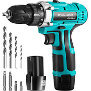 Vevor 12v Cordless Drill Driver 3/8 2 Speed Brushless Drill W/ Bits And 2 Battery