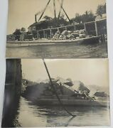 Antique Photographs Of Barge Loaded With Rip Rap Rock Crane In Background Rare
