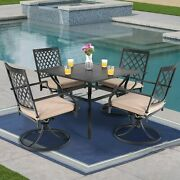 Outdoor Dining Table 37 Metal Slat Kitchen Desk With 1.57 Patio Umbrella Hole