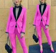 Women 2 Piece Outfits Suit Rose Business Blazers Shawl Lapel Tuxedos Tailored