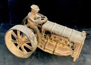 Antique Old Cast Iron Toy Tractor Car Truck Automobile Trailer