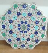 36 Inch Marble Dining Table Top Multi Color Gemstones Inlaid Sofa Table For Home