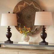 Traditional Table Lamps Set Of 2 Pedestal Bronze Drum Shade Living Room Bedroom