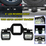 Tow Hitch Mounting Bracket And 2x 4 Tri-row Led Backup Reverse Pods Lamp Truck