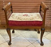 Antique Victorian Mahogany Carved Vanity Window Seat Bench Burgundy Needlepoint