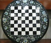 30 Inches Black Round Marble Coffee Cum Chess Board Table Top Hand Made For Kids