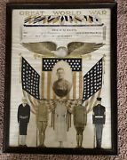 Rare Wwi Poster Enlistments Certificate Papers Photo Eagle Flag