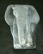 """Mats Jonasson Lead Crystal Elephant Signature Collection - 8"""" Signed And No.3140"""