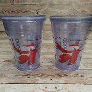 2 Starbucks 2011 Red Fox Holiday Cold Insulated 12oz Clear To Go Tumbler Cup Lid
