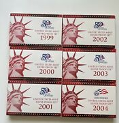 6 U.s. Silver Proof 10 Coin Sets 1999 2000 2001 2002 2003 And 2004