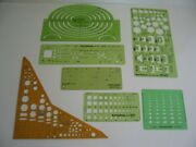 Lot Of 19 Drafting Templates Plus Tacro Germany Beam Compass