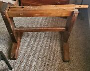 Very Rare Primitive Flax Break / Cutter Used As Quilt Or Blanket Rack