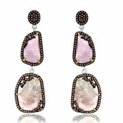 32.87 Ct Pink Slice Sapphire And Diamond 18k Gold And Sterling Dangle Earrings