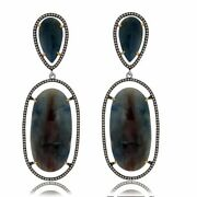 80.85 Ct Blue Slice Sapphire And Diamond 18k Gold And Sterling Drop Earrings