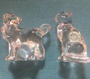 Pair Lenox Solid Crystal Glass Cats W Ribbon Bows Made In Germany