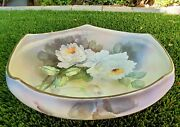 Antique Morimura Bros Nippon Hand Painted Flower 5 Sided Footed Serving Bowl