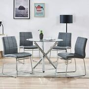 5 Pcs Round Dining Set Glass Top Table With Gray Leather Chairs Modern Kitchen