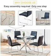 5 Pcs Round Dining Set Glass Top Table With Black Leather Chairs Modern Kitchen