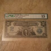 1899 United States 2 Two Dollars Silver Certificate Paper Money Pmg Graded 15