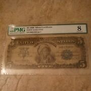 1899 United States 5 Five Dollars Silver Certificate Paper Money Pmg Graded 8