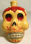 Empty Glass Tequila Skull Shaped Devil Bottle Kah Hand Paint Collectible