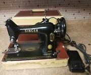 Vintage Singer 99k Electric Sewing Machine W/ Light Foot Control And Case 1954