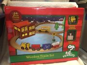 New 24 Piece Peanuts Wooden Train Set Charlie Brown Engine Snoopy