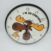 Vintage 1987 Bullwinkle Iand039m So Confused Backwards 12 Wall Clock Tested-works