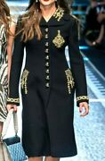 Dolce And Gabbana Jewel Embroidered Baroque Black Dress Runway Coat Us 4 6 / It 42