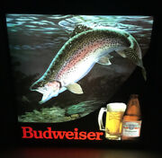 Vintage 1980s Budweiser Rainbow Trout In Motion Lighted Beer Sign. Very Nice