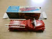 Vintage Hubley Kiddy Toy Hook And Ladder Metal Red W/ 476 Box Excellent Condition